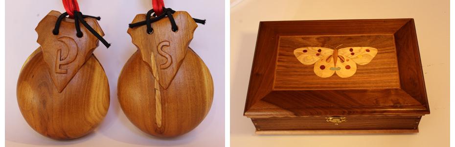 Caja de madera para castañuelas maragatas.